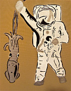 Iconic Paintings - Astronaut Squid by Tom Evans