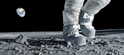 Astronaut Walking On The Moon Print by Detlev Van Ravenswaay