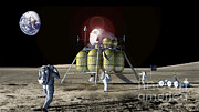 Astronauts Art - Astronauts On The Moon by NASA / Science Source