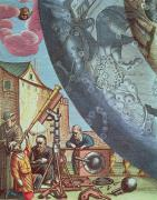 Constellations Painting Prints - Astronomers looking through a telescope Print by Andreas Cellarius