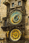Clock Hands Posters - Astronomical Clock in Prague Poster by Les Abeyta