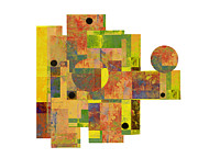 Retro Art Prints - Asymmetry 1 Abstract art collage Print by Ann Powell