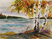 Autumn Landscape Drawings - At Anchor by John  Williams