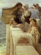 Parapet Prints - At Aphrodites Cradle Print by Sir Lawrence Alma-Tadema