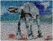 Beer Bottle Cap Art - At-At Bottle Cap Mosaic by Paul Van Scott