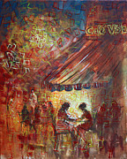 Coffee Shop Painting Posters - At Cafe Viola Poster by Viola El