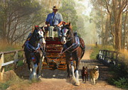 Kelpie Prints - At Durdidwarrah Crossing Print by Trudi Simmonds
