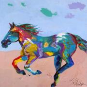 Western Abstract Painting Originals - At Full Gallop by Tracy Miller