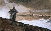 Signed Metal Prints - At High Sea Metal Print by Winslow Homer