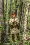 Reenactor Framed Prints - At Home in the Forest Framed Print by Randy Steele