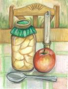 Canned Fruit Posters - At Home Still Life Poster by Linda Nielsen