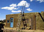 Blue Doors Framed Prints - At Home Taos Pueblo Framed Print by Kurt Van Wagner