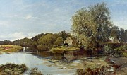Mill Painting Framed Prints - At Milton Mill on the River Irvine Framed Print by Horatio McCulloch