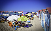 Cabanas Prints - At Mondello Beach - Sicily Print by Madeline Ellis