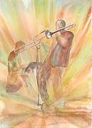 Trombone Paintings - At One With the Music by Debbie  Lewis