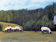 Country Scenes Pastels Prints - At Pasture Print by Jan Amiss