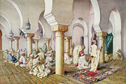 Rugs Posters - At Prayer in the Mosque Poster by Filipo Bartolini or Frederico