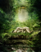 Mystical Digital Art Prints - At Sleep Print by Karen Koski