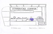 Pleasant Mixed Media Posters - At Starbucks Poster by Fred Jinkins