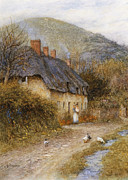 Country Cottage Prints - At Symondsbury near Bridport Dorset Print by Helen Allingham