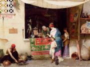 Orientalists Painting Framed Prints - At the Antiquarian Framed Print by Vitorio Capobianchi