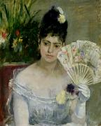 Gown Painting Posters - At The Ball Poster by Berthe Morisot