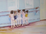 Girls Paintings - At the Barre by Julie Todd-Cundiff