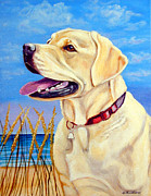 Puppies Framed Prints - At the Beach - Labrador Retriever Framed Print by Lyn Cook