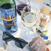 Wine Oil Posters - At the Beach  Poster by Christopher Mize