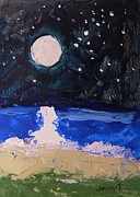 Sea Moon Full Moon Drawings Prints - At the Beach Print by John  Williams