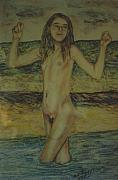 Skinny Pastels Prints - At the Beach Print by Neil Trapp