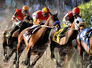Horse Racing Art Prints - At the bend Print by James Shepherd