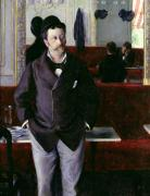 Caillebotte Prints - At the Cafe Rouen Print by Gustave Caillebotte