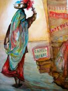 Labor Drawings - At The Camel Fair by Myra Evans