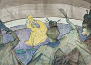 Performer Drawings Prints - At the Circus Print by Henri de Toulouse-Lautrec