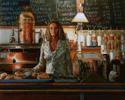 Waitresses Prints - At the Coffee Mill Print by Doug Strickland