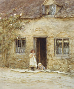Exterior Posters - At the Cottage Door Poster by Helen Allingham