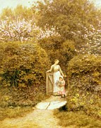 Basket Posters - At the Cottage Gate Poster by Helen Allingham