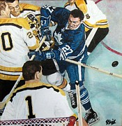 Hockey Painting Metal Prints - At The Crease Metal Print by Blair  Haynes