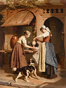 Basket Posters - At the Dairy Poster by Theodore Gerard