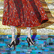 Legs Glass Art Prints - At the Dance Print by Barbara Benson Keith