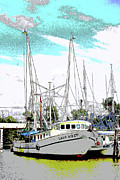 Colorful Photography Drawings Prints - At the Dock Print by Barry Jones