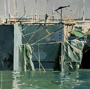 Sausalito Painting Prints - At The Docks 1 Print by Andrew Drozdowicz
