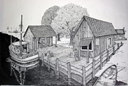 Dock Drawings Originals - At The Docks by Sharon Denton