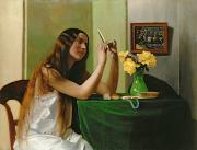 Nightgown Framed Prints - At the Dressing Table Framed Print by Felix Edouard Vallotton