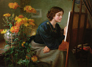 Female Portrait Paintings - At the Easel  by James N Lee