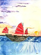 Wooden Ship Mixed Media Prints - At the Edge of the World Print by Kiana Gonzalez