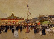 Crowds Painting Posters - At the Fair  Poster by Luigi Loir
