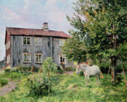 Country Cottage Metal Prints - At The Farm Metal Print by Gerhard Peter Frantz Vilhelm Munthe