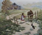 Holly Hocks Paintings - At the Farm by Kathleen Keller